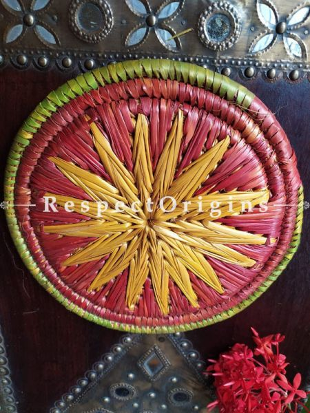 Buy Set of 4 Gorgeous Pink,Yellow,Green and Brown Organic Moonj Grass Handwoven Thick Hot Plates at RespectOrigins.com