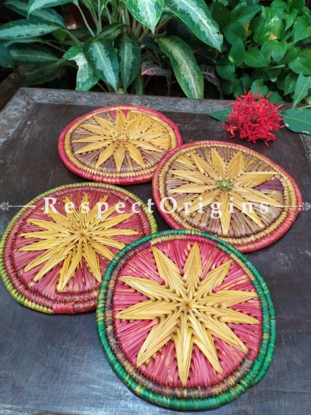 Set of 4 Gorgeous Pink,Yellow,Green and Brown Organic Moonj Grass Handwoven Thick Hot Plates; diameter 9  Inches