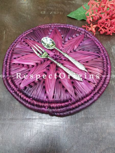 Buy Set of 4 Gorgeous Purple Organic Moonj Grass Handwoven Thick Hot Plates diameter 9  Inches at RespectOrigins.com