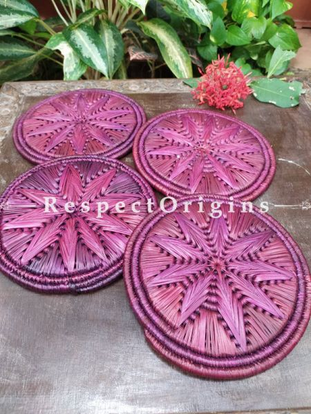 Set of 4 Gorgeous Purple Organic Moonj Grass Handwoven Thick Hot Plates; diameter 9  Inches