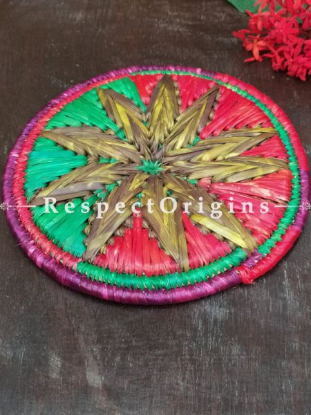 Buy Set of 4 Gorgeous Multi-Color Organic Grass Handwoven Thick Hot Plates diameter 9  Inches at RespectOrigins.com