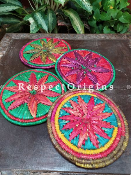 Set of 4 Gorgeous Multi-Color Organic Grass Handwoven Thick Hot Plates; diameter 9  Inches