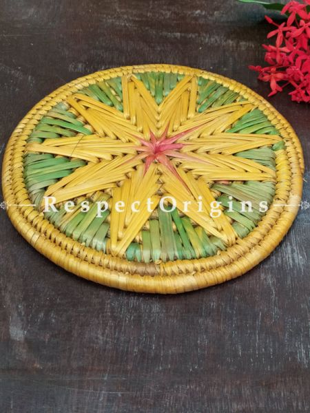 Buy Set of 4 Gorgeous Two-toned Yellow,Green,Pink and Brown Organic Grass Handwoven Thick Hot Plates  at RespectOrigins.com