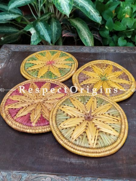 Set of 4 Gorgeous Two-toned Yellow,Green,Pink and Brown Organic Grass Handwoven Thick Hot Plates; diameter 9  Inches