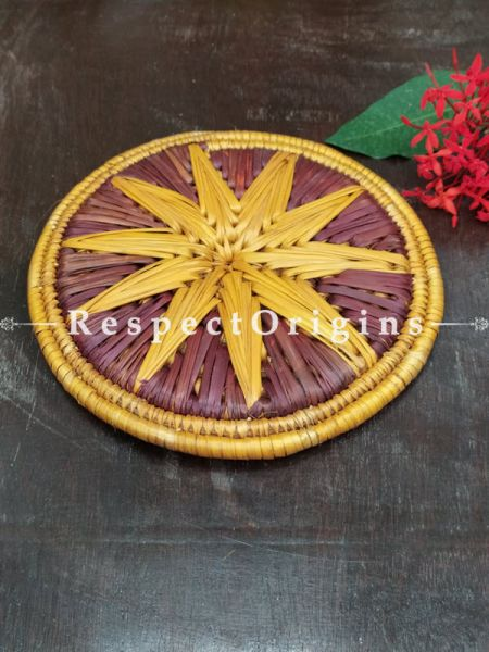 Buy Set of 4 Gorgeous Yellow and Brown-toned Organic Grass Handwoven Thick Hot Plates diameter 9 Inches at RespectOrigins.com
