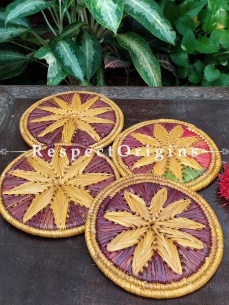 Set of 4 Gorgeous Yellow and Brown-toned Organic Grass Handwoven Thick Hot Plates; diameter 9 Inches