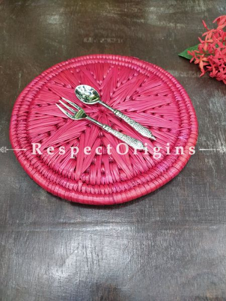 Buy Set of 4 Gorgeous Pink Organic Grass Handwoven Thick Hot Plates diameter 9  Inches at RespectOrigins.com