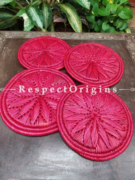 Set of 4 Gorgeous Pink Organic Grass Handwoven Thick Hot Plates; diameter 9  Inches