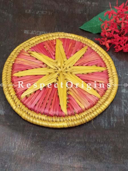Buy Set of 4 Gorgeous Two-toned Organic Grass Handwoven Thick Hot Plates diameter 9  Inches at RespectOrigins.com