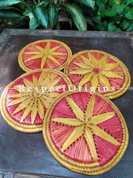 Set of 4 Gorgeous Two-toned Organic Grass Handwoven Thick Hot Plates; diameter 9  Inches
