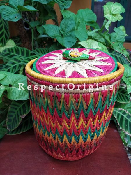 Buy Rainbow in a Basket! Natural Moonj Grass Woven Laundry Basket ke Planter with a Lidat  at RespectOrigins.com