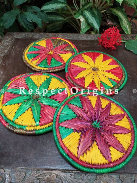 Set of 4 Multicolor Organic Moonj Grass Handwoven Thick Hot Plates; diameter 9  Inches