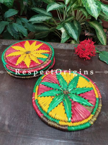 Buy Set of 4 Multicolor Organic Moonj Grass Handwoven Thick Hot Plates diameter 9  Inches at RespectOrigins.com