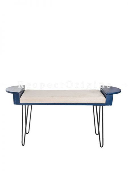 Buy Recycled Wood Bench With Cushion And Metallic Legs, Blue At RespectOrigins.com