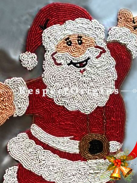 Santa Hand Knitted Beadwork for Christmas; Cotton Runner Mat, 12x16 Inches