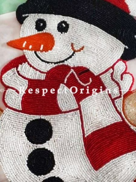 Snow Man Knitted Beadwork for Christmas; Cotton Runner Mat, 12x16 Inches