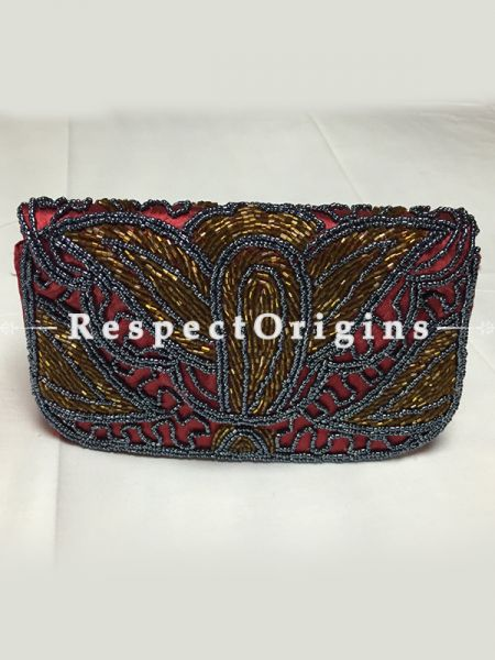 Buy Maroon Satin Clutch; Beadwork at RespectOrigins.com