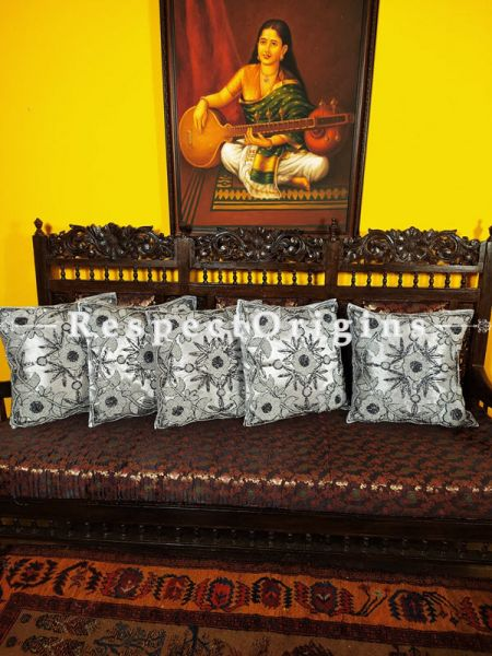 Set of 5 Cushion Covers with Hand Knitted Beadwork on Satin Silk; Gray Coloured; RespectOrigins.com