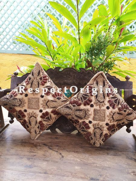 Set of 2 Cushion Covers with Beadwork on Satin Silk in Beige  ; RespectOrigins.com