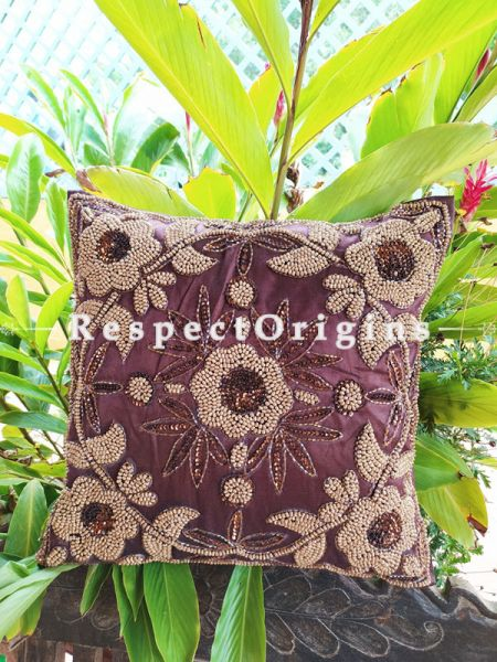 Set of 2 Cushion Covers with Beadwork on Satin Silk; Brown Coloured; RespectOrigins.com