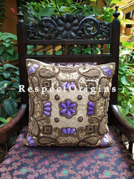 Cushion Covers with Beadwork on Satin Silk; Beige Coloured; 16 Inches; RespectOrigins.com