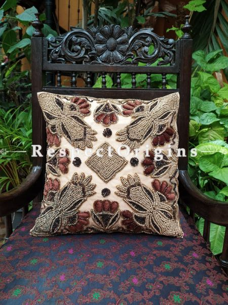 Cushion Covers with floral pattern Beadwork on Satin Silk; Beige Coloured 16 Inches.; RespectOrigins.com
