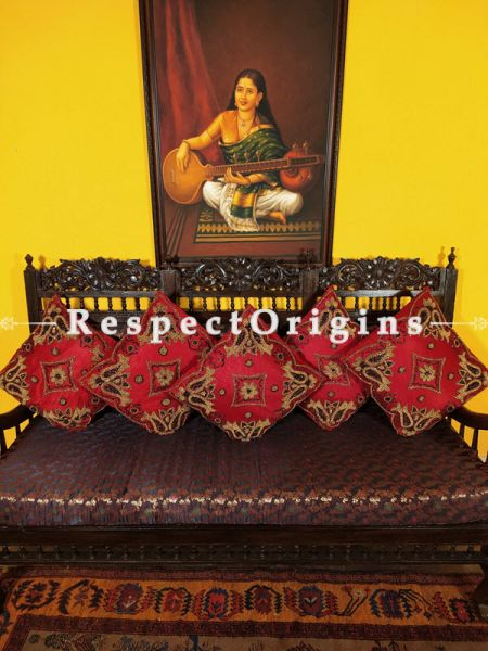 Set of 5 Cushion Covers & Embellished Red Beadwork on Satin Silk; 16 Inches; RespectOrigins.com