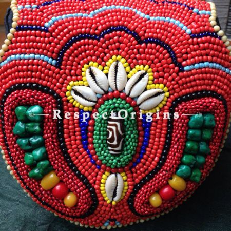 Buy Handmade Turquoise Shells & Beaded Ladakhi Coral Red Clutch  at RespectOrigins.com