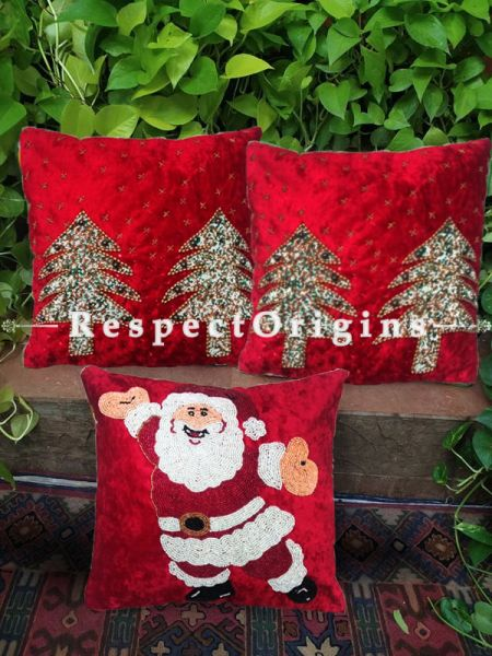 Set of 3 Hand Knitted Beadwork with Red Christmas tree and Santa Square Cotton Cushion Cover 16x16 in ; RespectOrigins.com