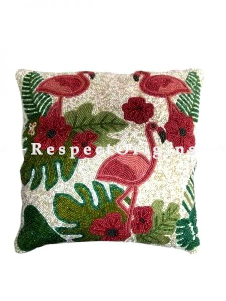 Hand Knitted Beadwork with Red Pelican Square Cotton Cushion Cover 16x16 in; Set of 2; RespectOrigins.com