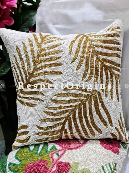 Hand Knitted Golden Leaf Beadwork on White Square Cotton Cushion Cover 16x16 in; Set of 2; RespectOrigins.com
