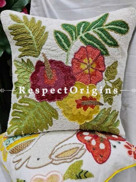 Hand Knitted Beadwork with multicoloured flowers; Square Cotton Cushion Cover 16x16 in; Set of 2; RespectOrigins.com