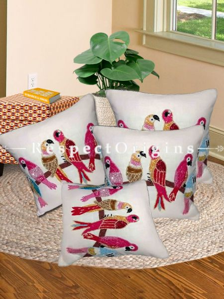 Hand Knitted Multicoloured Parrots Beadwork on White Square Cotton Cushion Cover 16x16 in; Set of 3; RespectOrigins.com