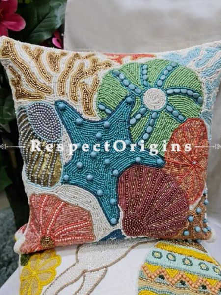 Hand Knitted Starfish & Sea Shells Beadwork on White Square Cotton Cushion Cover 16x16 in; Set of 2; RespectOrigins.com