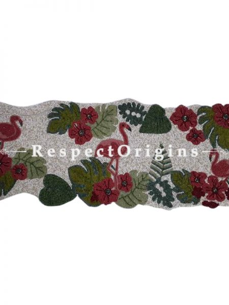 Hand Knitted Beadwork with Red Pelican Cotton Table Runner, 40x100 Inches; RespectOrigins.com