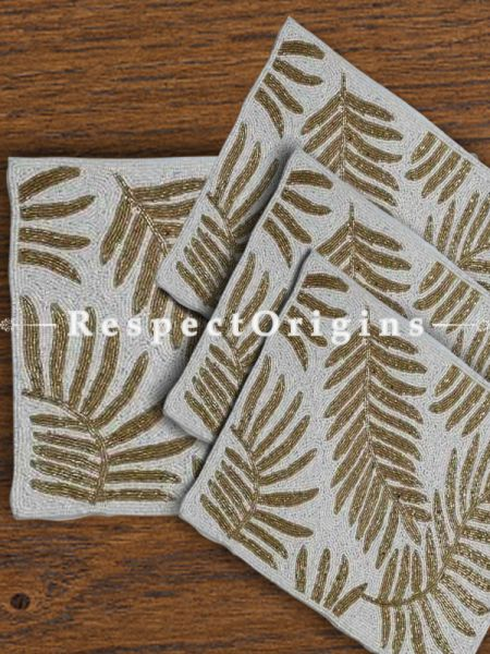Hand Knitted Golden Leaf Beadwork on White Table mats 16x16 in; Set of 4; RespectOrigins.com