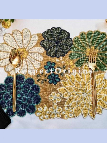 Hand Knitted Beadwork with Multicoloured flower Cotton Table Runner, 40x100 Inches; RespectOrigins.com