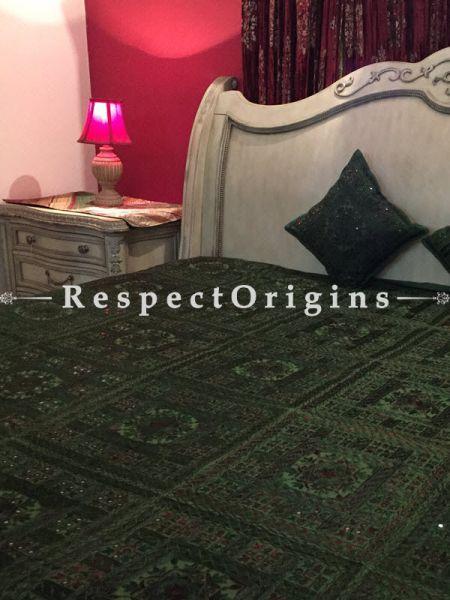 Buy Green Grandeur in Mirror work; Bedspread; 2 Pillow Cases included; 85x103 in At RespectOrigins.com