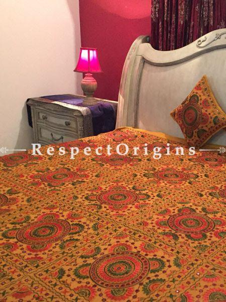 Buy Orange Grandeur in Mirror work; Cotton Bedspread; 2 Pillow Cases included; 85x103 in At RespectOrigins.com