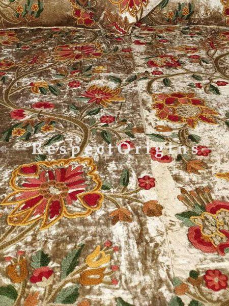 Buy Roma Gorgeous Almond Rich Duvet Bedspread Velvet King Set Aari work Embroidered in Autumnal Florals. At RespectOriigns.com