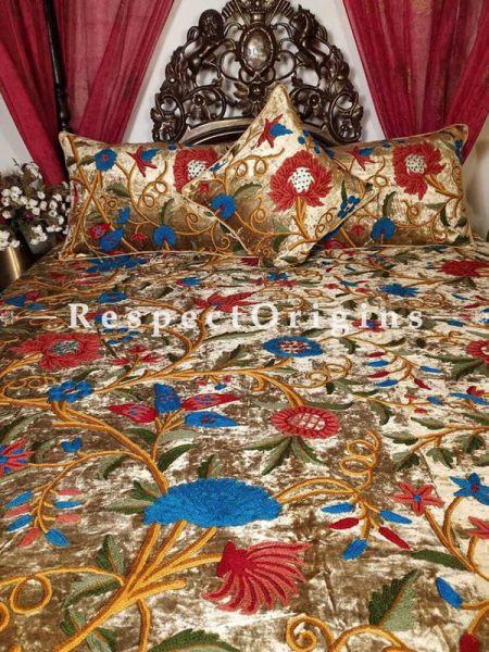 Buy Arthur Luxury Gold Soft Velvet Hand Embroidered Aari work King Duvet Cover Bedspread Set At RespectOriigns.com