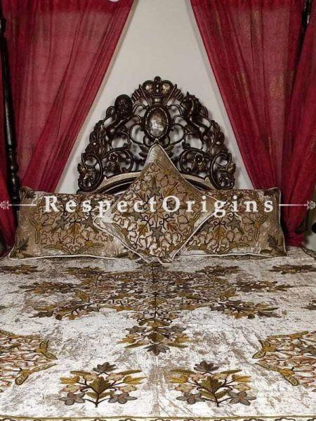 Buy Rosalinda Fabulous Luxury Silver Velvet Duvet Bedspread in Fine Hand-embroidered Aari work Floral Motifs. At RespectOriigns.com