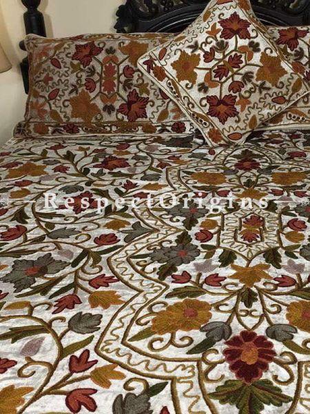 Buy Virginia Pearl White Rich Velvet Hand Embroidered Aari work Duvet Bedspread Set Queen At RespectOriigns.com