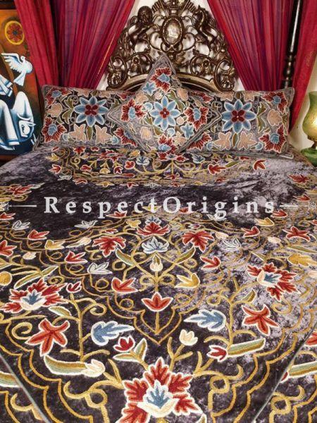 Buy Portia Luxury Soft Raisin Velvet Designer Velvet Hand Embroidered King Aari work Duvet Bedspread Set At RespectOriigns.com