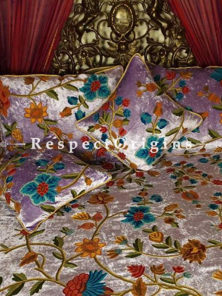 Buy Danielle Soft Mauve Luxury Velvet Hand-embroidered Aari work King King Bedspread Duvet Cover with Cushions At RespectOriigns.com