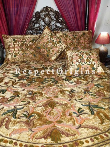 Buy Alexa Classic Almond Luxury Soft Velvet Embroidered King Aari work Bedspread and Duvet Set At RespectOriigns.com