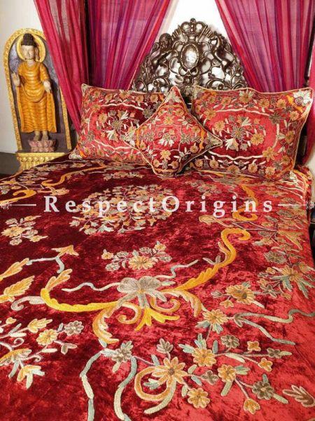 Buy Glorianna Regal Rich Red Luxury Velvet Hand-embroidered Aari work King Bedspread Duvet Set At RespectOriigns.com