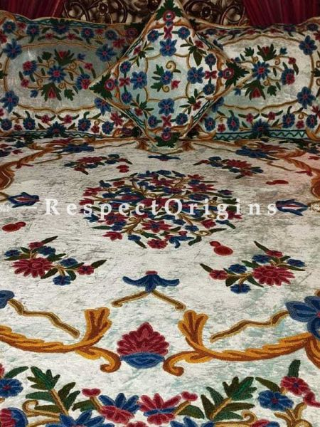 Buy Rebecca Designer Ivory White Floral Luxury Velvet Hand-embroidered King Bedspread Duvet Cover with Cushions At RespectOriigns.com