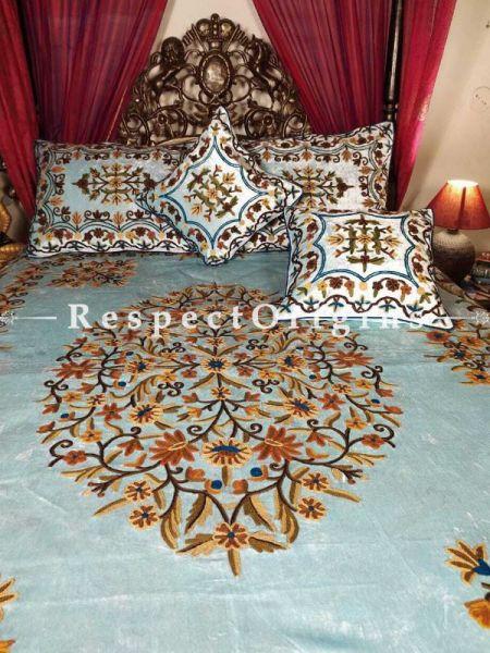 Buy Marianna Luxury Powder Blue Velvet Hand-embroidered Aari work King Bedspread Duvet King; Shams included At RespectOriigns.com