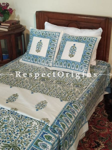 Buy  Block-printed White with Blues n Greens Jaypuri Dohar Comforter Quilt with Piping at RespectOrigins.com